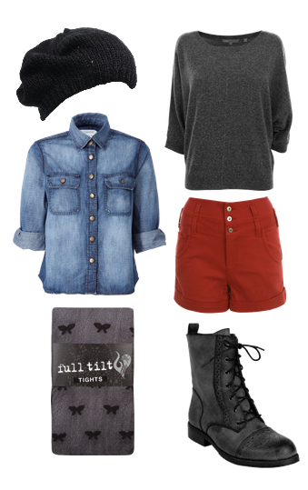 red-shorts-grayd-tee-blue-light-collared-shirt-black-shoe-booties-howtowear-fashion-style-outfit-fall-winter-chambray-black-tights-combat-beanie-denim-weekend.jpg