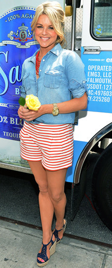 red-shorts-blue-light-collared-shirt-watch-howtowear-fashion-style-outfit-spring-summer-stripe-print-bun-necklace-blue-shoe-sandalw-blonde-lunch.jpg