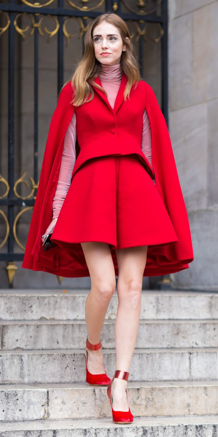 red-shorts-match-set-pink-light-tee-turtleneck-red-jacket-coat-cape-hairr-red-shoe-pumps-tonal-fall-winter-dinner.jpg
