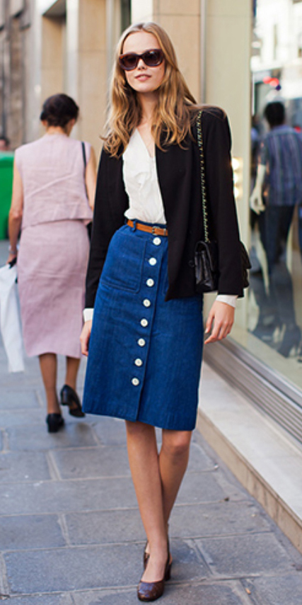 blue-navy-aline-skirt-white-top-blouse-black-jacket-blazer-belt-sun-black-bag-brown-shoe-pumps-wear-style-fashion-fall-winter-button-blonde-work.jpg