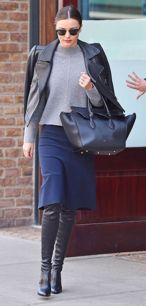 blue-navy-aline-skirt-grayl-sweater-black-jacket-moto-wear-style-fashion-fall-winter-black-shoe-boots-black-bag-sun-bun-mirandakerr-celebrity-street-brun-classic-work.jpg