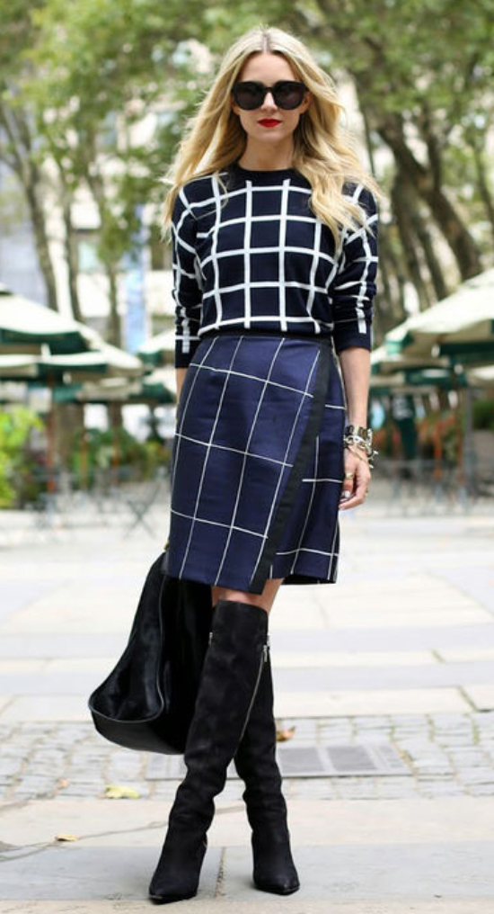 blue-navy-aline-skirt-black-sweater-sun-black-bag-wear-style-fashion-fall-winter-black-shoe-boots-windowpane-mix-prints-knee-office-blonde-work.jpg