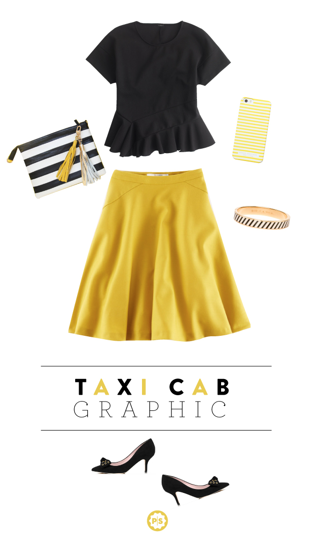 yellow-aline-skirt-black-top-peplum-white-bag-clutch-stripe-black-shoe-pumps-howtowear-style-fashion-fall-winter-katespade-dinner.jpg