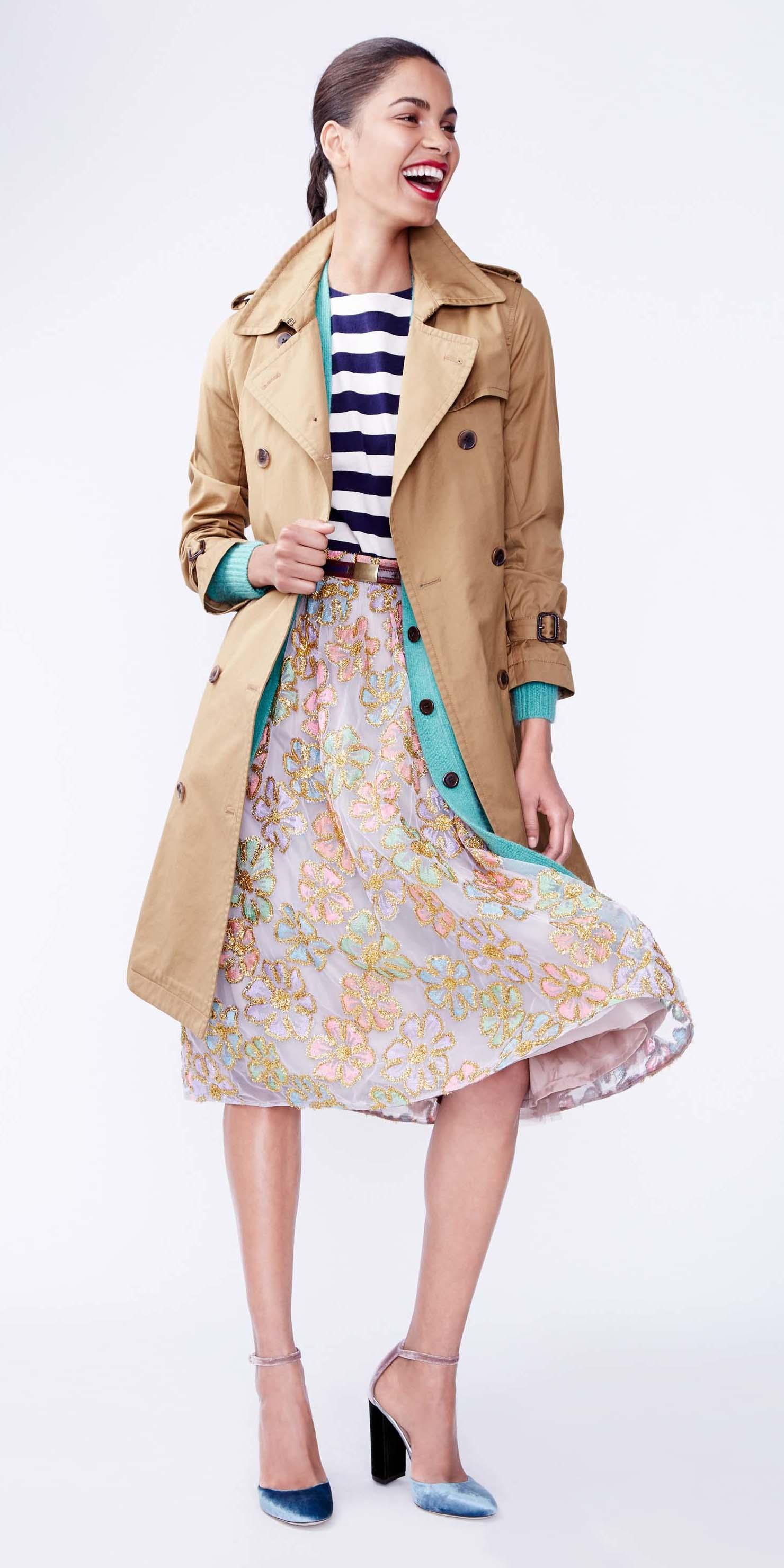 pink-light-aline-skirt-stripe-blue-navy-tee-brun-pony-blue-shoe-pumps-tan-jacket-coat-trench-fall-winter-lunch.jpg