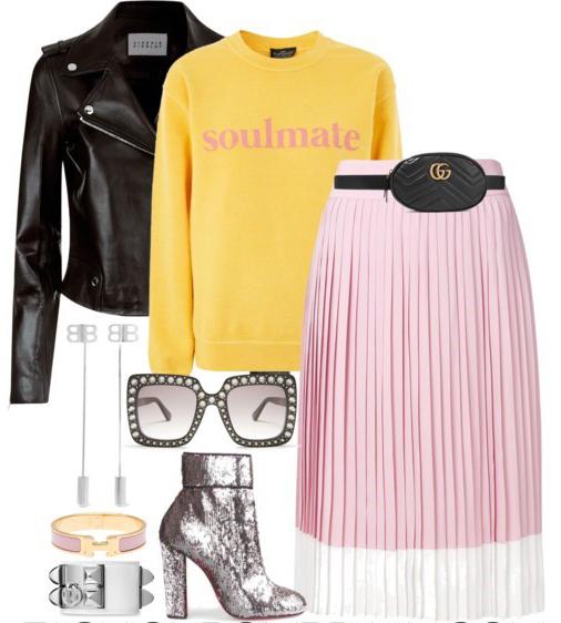 pink-light-aline-skirt-pleated-black-bag-fannypack-yellow-sweater-sweatshirt-graphic-sun-gray-shoe-booties-metallic-black-jacket-moto-fall-winter-lunch.jpg