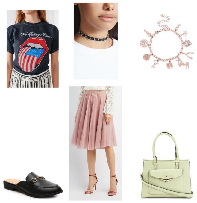 pink-light-aline-skirt-black-graphic-tee-green-bag-choker-charm-bracelet-black-shoe-flats-loafers-spring-summer-weekend.jpg