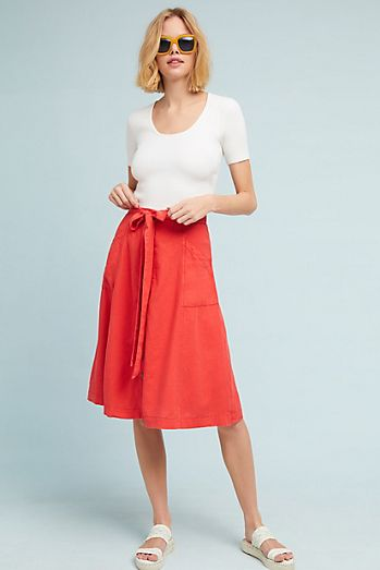 red-aline-skirt-white-shoe-sandals-blonde-sun-lob-white-tee-spring-summer-weekend.jpg