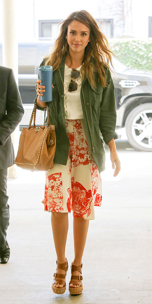 red-aline-skirt-print-white-top-hairr-green-olive-jacket-utility-brown-shoe-sandalw-cognac-bag-spring-summer-weekend.jpg