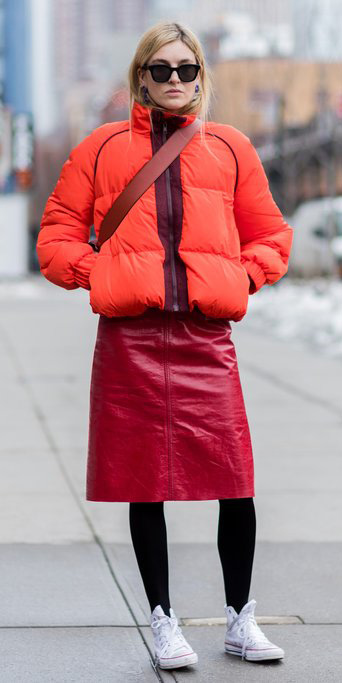 red-aline-skirt-leather-black-tights-white-shoe-sneakers-converse-orange-jacket-coat-puffer-fall-winter-blonde-weekend.jpg