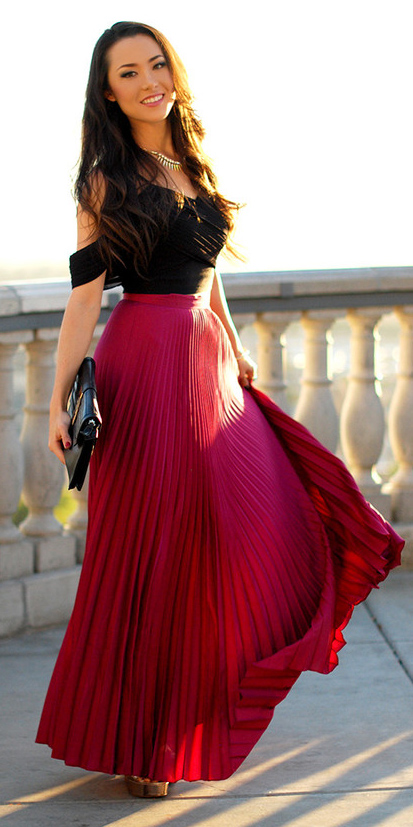 black-top-offshoulder-brun-pleat-red-maxi-skirt-spring-summer-dinner.jpg
