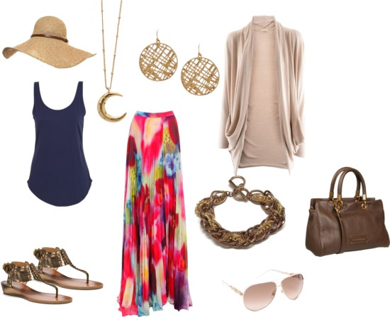 red-maxi-skirt-blue-navy-top-tank-print-tan-cardiganl-brown-shoe-sandals-brown-bag-earrings-sun-hat-straw-necklace-pend-howtowear-fashion-style-outfit-spring-summer-beach-weekend.jpg