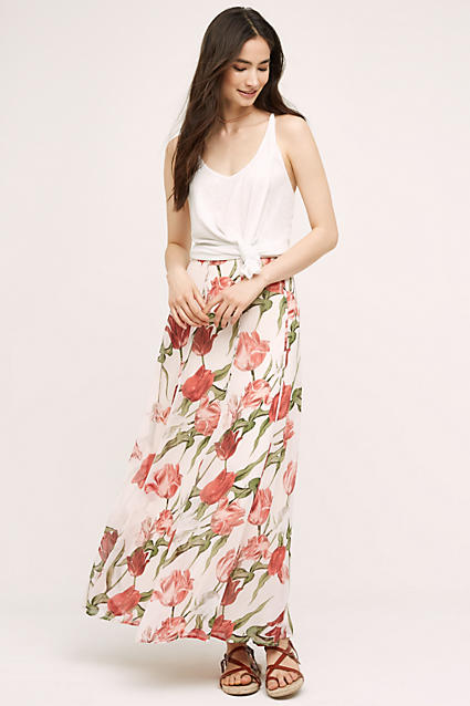 red-maxi-skirt-white-top-tank-floral-wear-style-fashion-spring-summer-print-brown-shoe-sandals-brun-weekend.jpg