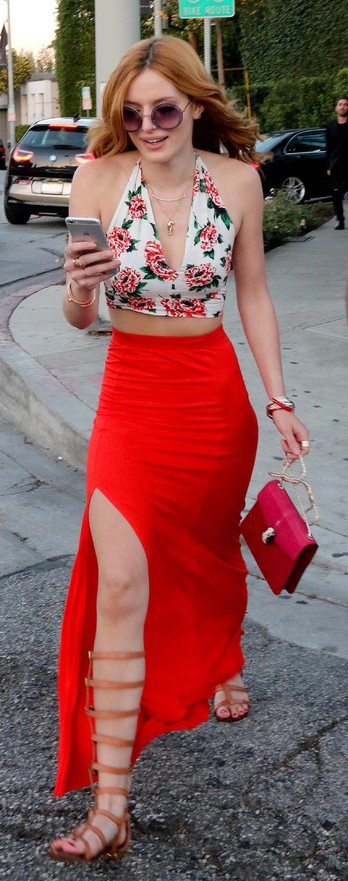 red-maxi-skirt-red-top-crop-cognac-shoe-sandals-sun-red-bag-wear-style-fashion-spring-summer-floral-gladiators-cage-bellathorne-celebrity-hairr-lunch.jpg