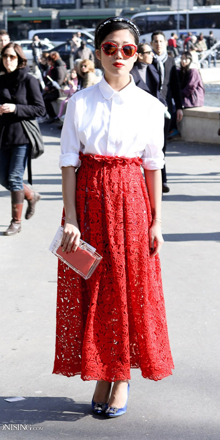 white-top-blouse-brun-bun-lace-red-maxi-skirt-spring-summer-dinner.jpg