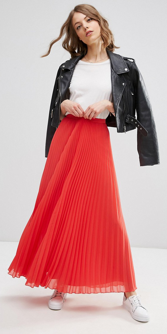 white-tee-black-jacket-moto-hairr-white-shoe-sneakers-pleat-red-maxi-skirt-fall-winter-weekend.jpg