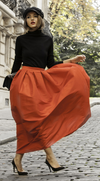 black-sweater-turtleneck-hat-hairr-black-bag-black-shoe-pumps-red-maxi-skirt-fall-winter-lunch.jpg