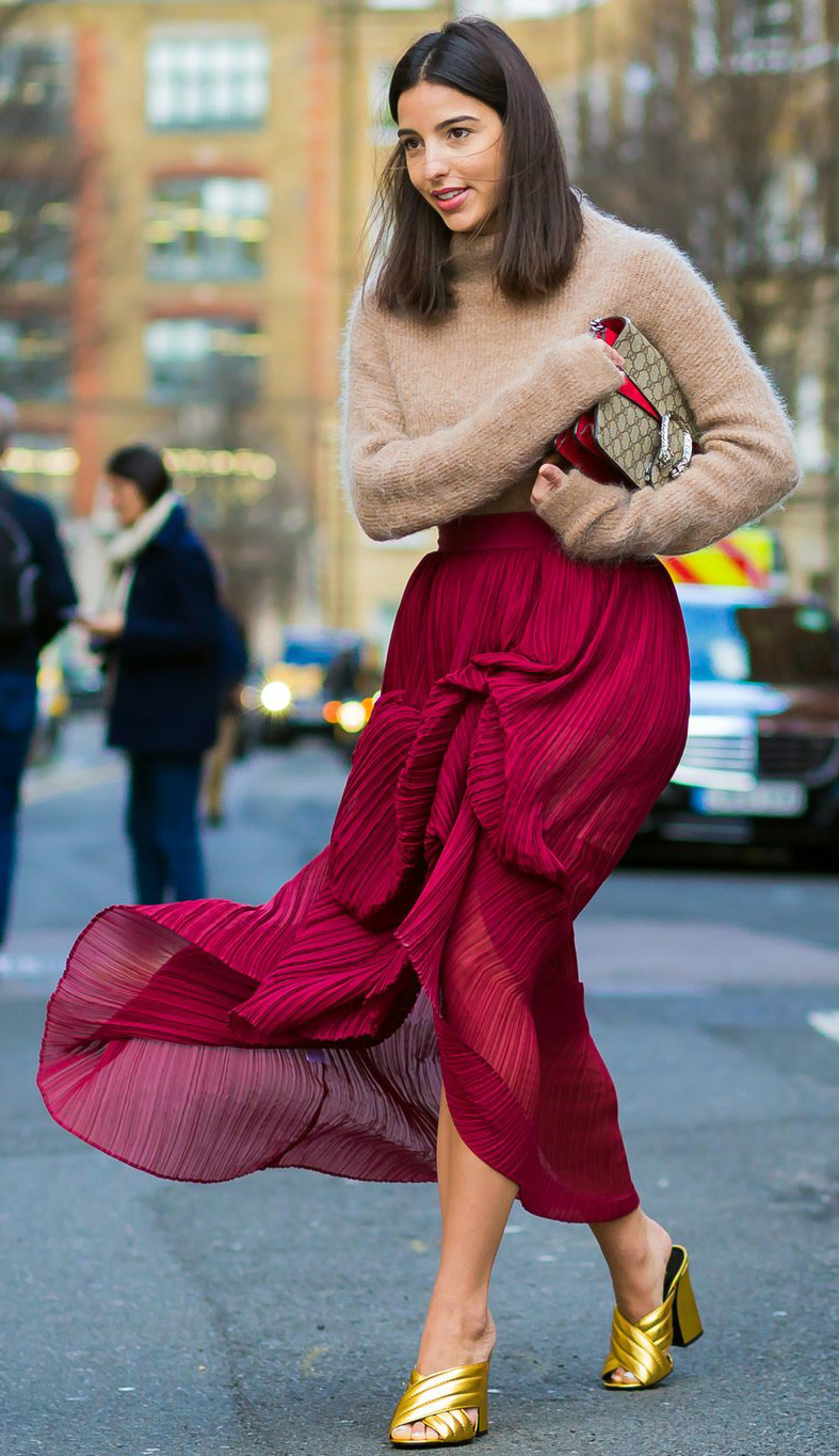 tan-sweater-brun-yellow-shoe-sandalh-pleat-red-maxi-skirt-fall-winter-dinner.jpg