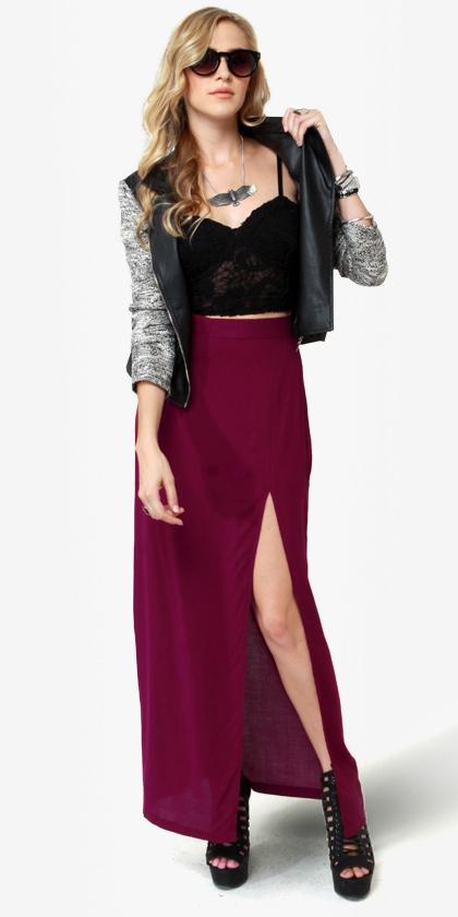 burgundy-maxi-skirt-slit-black-shoe-sandalh-grayl-jacket-moto-necklace-black-cami-fall-winter-blonde-dinner.JPG