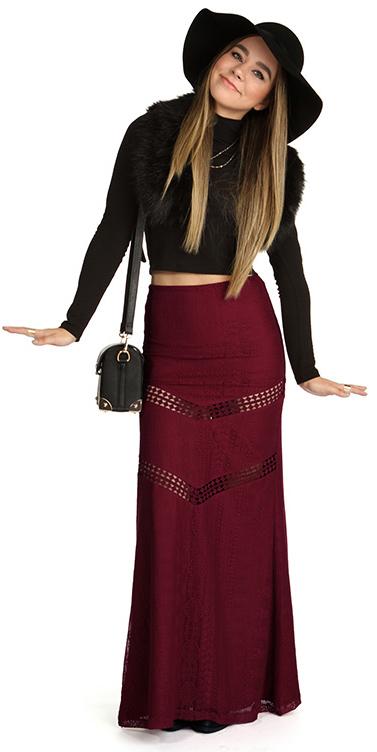 black-crop-top-blonde-hat-black-bag-black-stole-burgundy-maxi-skirt-fall-winter-lunch.jpg