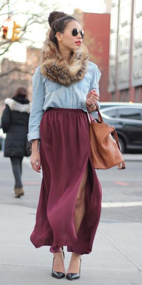burgundy-maxi-skirt-blue-light-collared-shirt-tan-scarf-fur-bun-fall-winter-brun.jpg