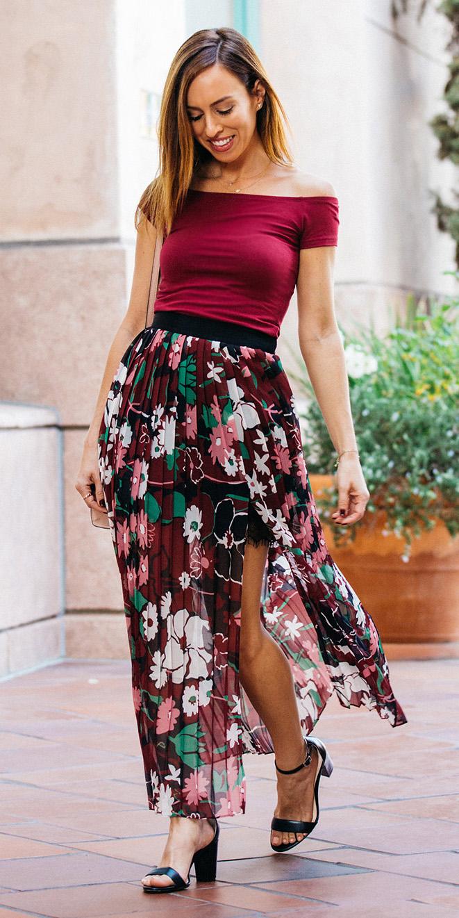 burgundy-maxi-skirt-floral-print-sheer-burgundy-top-offshoulder-black-shoe-sandalh-hairr-spring-summer-dinner.jpg