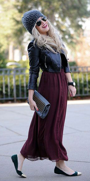 black-jacket-moto-beanie-sun-blonde-black-shoe-flats-burgundy-maxi-skirt-fall-winter-weekend.jpg