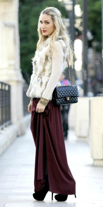 white-sweater-blonde-white-vest-fur-black-bag-black-shoe-pumps-burgundy-maxi-skirt-fall-winter-dinner.jpg