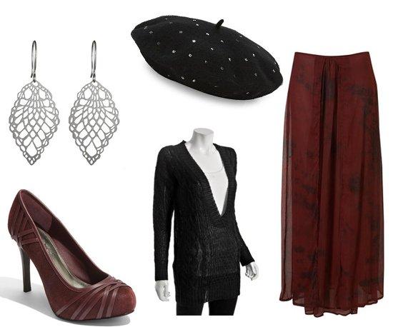 black-sweater-vneck-earrings-beret-burgundy-shoe-pumps-burgundy-maxi-skirt-fall-winter-lunch.jpg