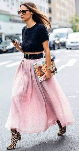 black-crop-top-wide-belt-hairr-sun-tan-shoe-booties-leopard-print-pink-light-maxi-skirt-fall-winter-dinner.jpg