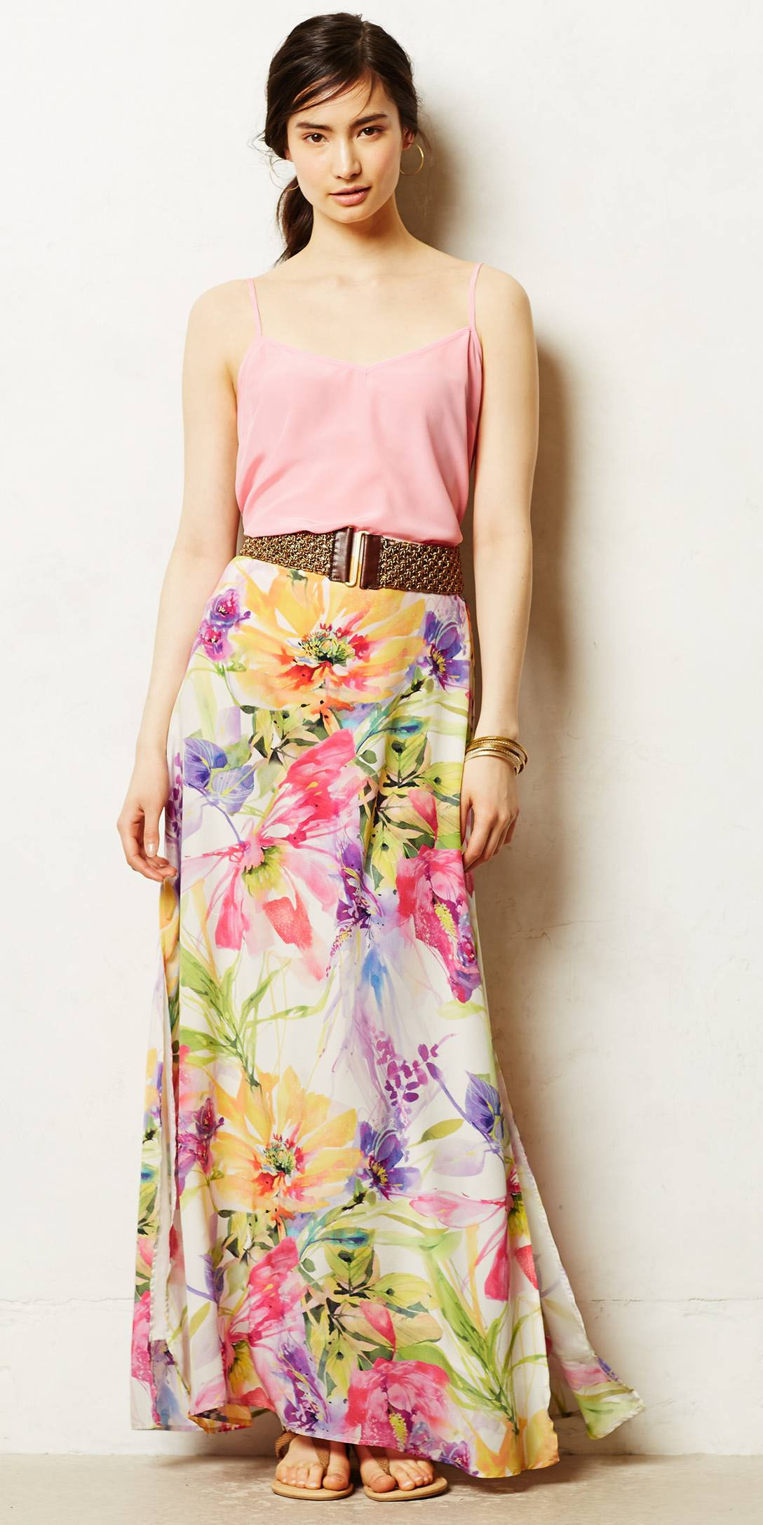 pink-light-cami-wide-belt-brun-pony-hoops-floral-print-pink-light-maxi-skirt-yellow-maxi-skirt-spring-summer-lunch.jpeg