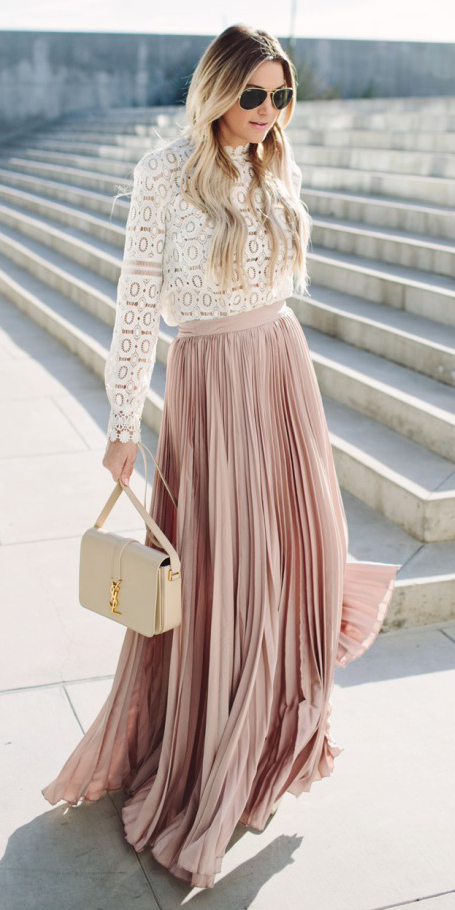 white-top-blouse-peasant-blonde-sun-white-bag-pleat-lace-pink-light-maxi-skirt-spring-summer-dinner.jpg