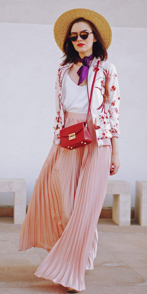pink-light-maxi-skirt-pleated-red-bag-purple-royal-scarf-neck-floral-print-pink-light-jacket-bomber-hat-sun-white-cami-spring-summer-hairr-lunch.jpg