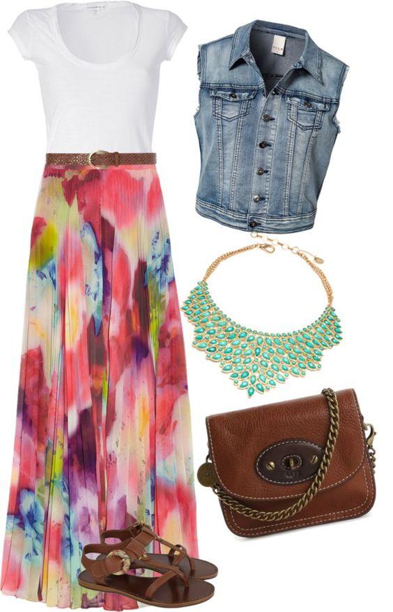 pink-magenta-maxi-skirt-bib-necklace-brown-bag-brown-shoe-sandals-print-blue-med-vest-jean-white-tee-spring-summer-lunch.jpg