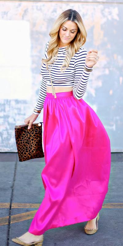 white-crop-top-stripe-necklace-blonde-cognac-bag-clutch-leopard-print-tan-shoe-flats-pink-magenta-maxi-skirt-spring-summer-lunch.jpg