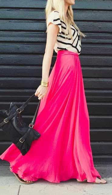 white-tee-black-bag-pink-magenta-maxi-skirt-blonde-spring-summer-lunch.jpg