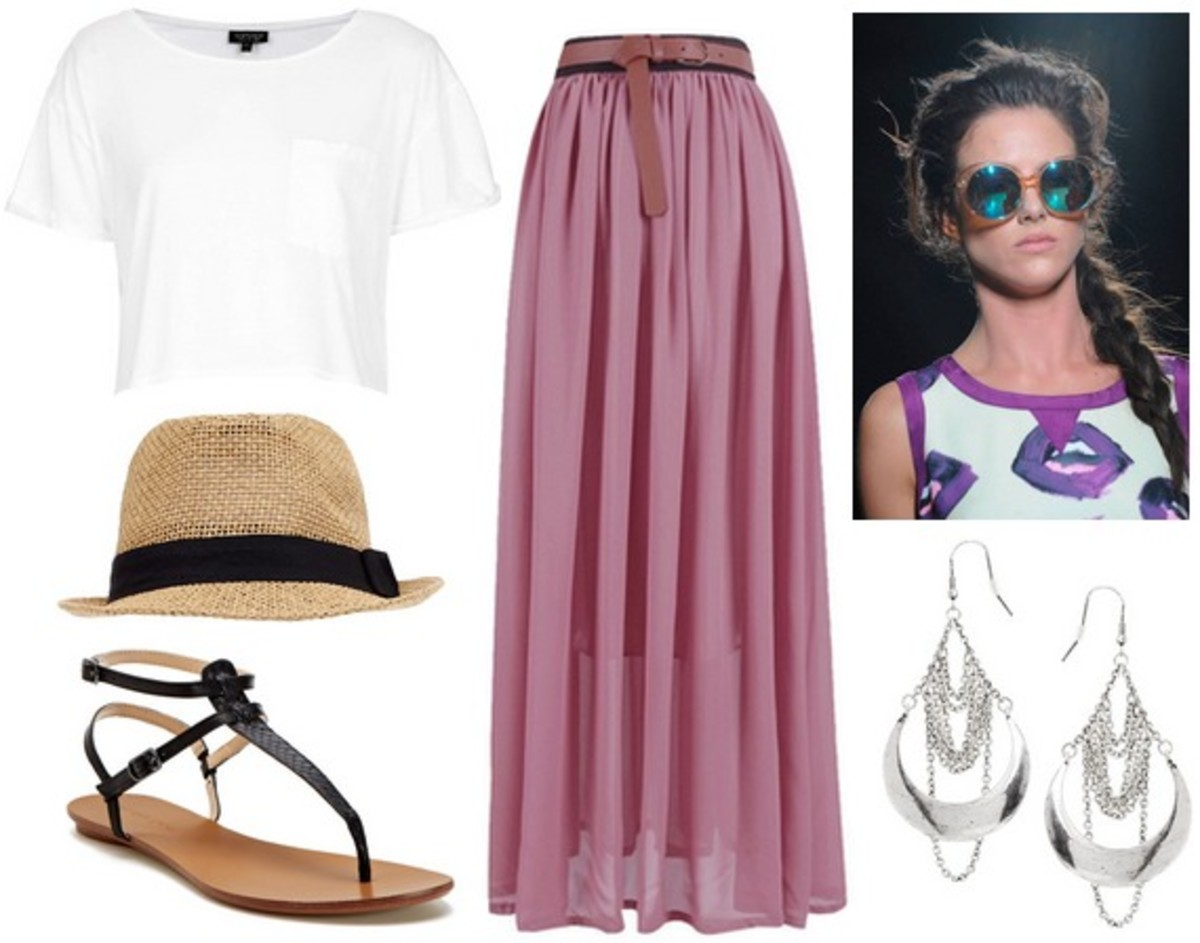 r-pink-magenta-maxi-skirt-white-tee-hat-earrings-black-shoe-sandals-braid-howtowear-fashion-spring-summer-style-outfit-weekend.jpg