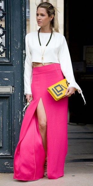 white-top-blouse-necklace-blonde-pony-yellow-bag-clutch-slit-pink-magenta-maxi-skirt-fall-winter-dinner.jpg