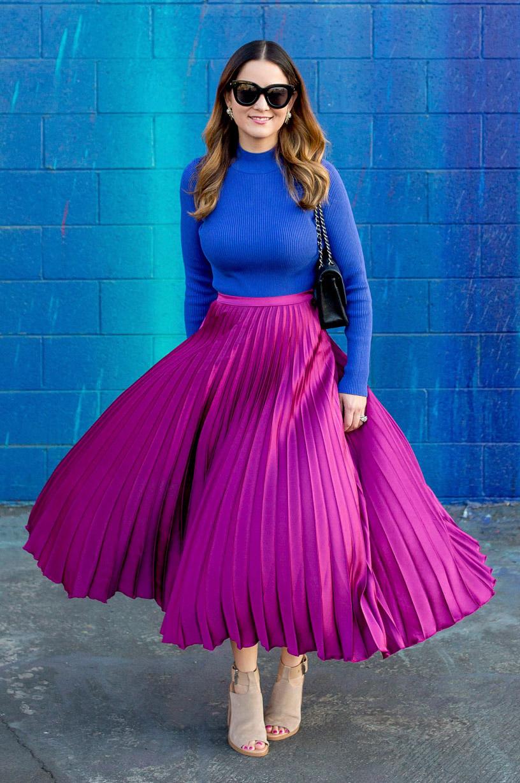blue-med-sweater-pleat-tan-shoe-sandalh-sun-black-bag-hairr-pink-magenta-maxi-skirt-fall-winter-lunch.jpg