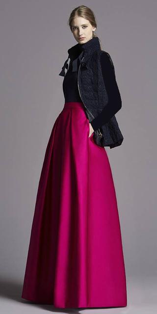 black-vest-puffer-black-sweater-bun-blonde-pink-magenta-maxi-skirt-fall-winter-dinner.jpg