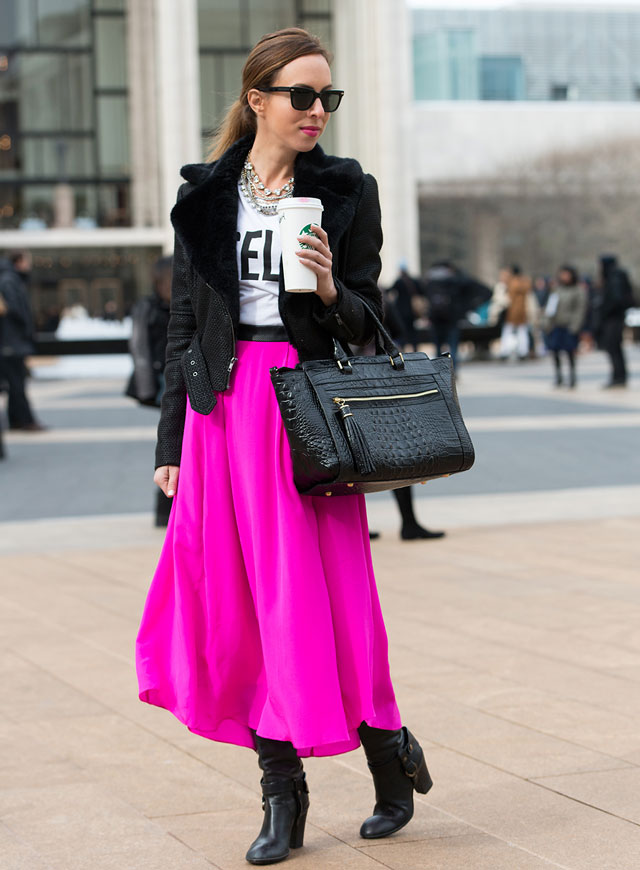 white-graphic-tee-hairr-pony-sun-black-bag-black-jacket-moto-necklace-black-shoe-boots-pink-magenta-maxi-skirt-fall-winter-lunch.jpg