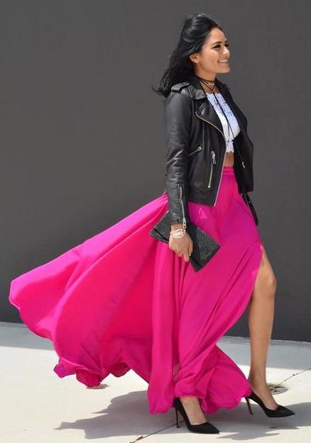 pink-magenta-maxi-skirt-white-crop-top-choker-black-shoe-pumps-black-bag-clutch-black-jacket-moto-fall-winter-brun-dinner.jpg