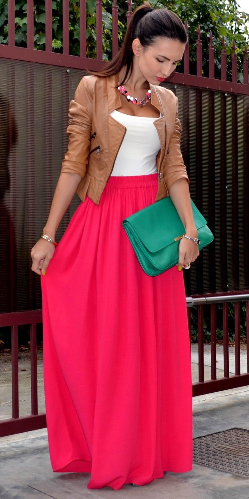 pink-magenta-maxi-skirt-white-cami-necklace-green-bag-clutch-pony-camel-jacket-moto-fall-winter-brun-dinner.jpg