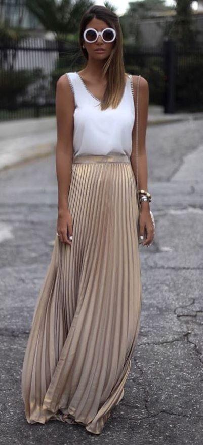 white-cami-sun-hairr-pleat-gold-tan-maxi-skirt-spring-summer-lunch.jpg
