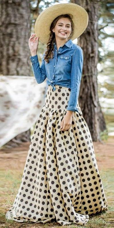 blue-med-collared-shirt-hat-straw-hairr-braid-dot-print-tan-maxi-skirt-spring-summer-lunch.jpg