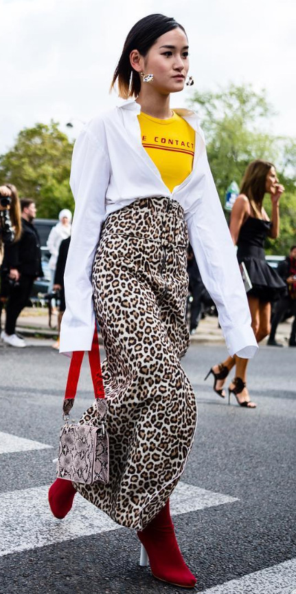 tan-maxi-skirt-leopard-print-white-collared-shirt-earrings-red-shoe-booties-yellow-graphic-tee-spring-summer-brun-lunch.jpg