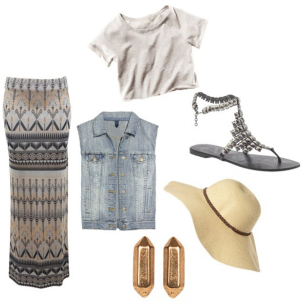 o-tan-maxi-skirt-white-tee-blue-light-vest-jean-howtowear-fashion-style-outfit-spring-summer-hat-earrings-gray-shoe-sandals-weekend.jpg