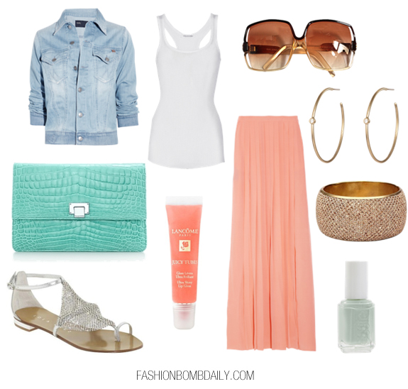 o-peach-maxi-skirt-white-top-tank-blue-light-jacket-jean-gray-shoe-sandals-nail-green-bag-clutch-hoops-sun-howtowear-fashion-style-outfit-spring-summer-lunch.jpg