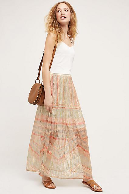 26d28b13b peach-maxi-skirt-white-top-tank-cognac-bag-