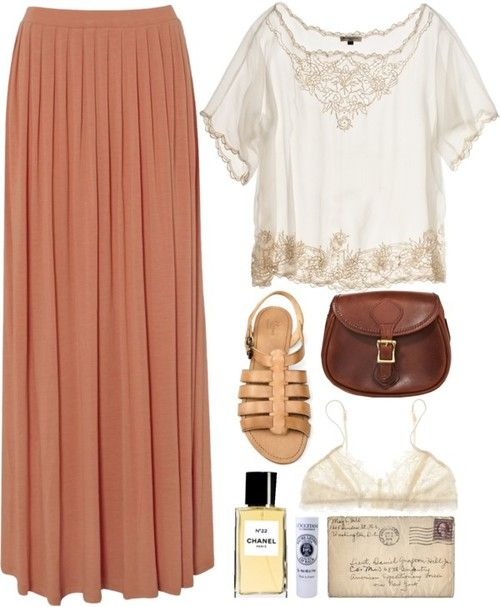 o-peach-maxi-skirt-white-top-blouse-tan-shoe-sandals-brown-bag-howtowear-fashion-style-outfit-spring-summer-weekend.jpg