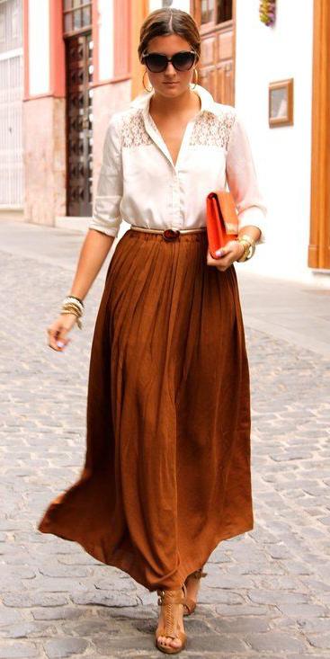 white-collared-shirt-hairr-bun-sun-cognac-shoe-sandalh-camel-maxi-skirt-orange-bag-spring-summer-dinner.jpg